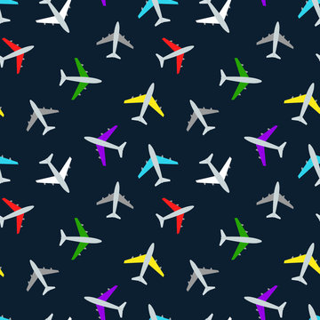 colorful cartoon planes on a dark background, seamless pattern
