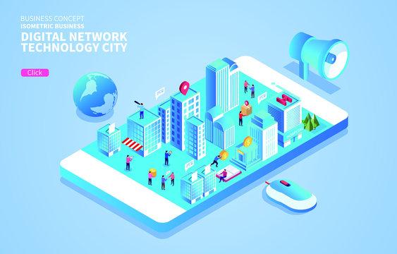 Isometric Digital Financial Network Technology City Life