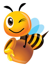 Cartoon cute happy bee carry a big honey pot fill with fresh organic honey - Vector character
