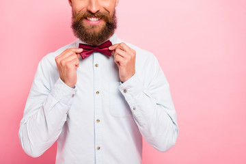 Close-up photo of smart comic positive cheerful excited with beaming smile person touching bow tie isolated pastel background Wall mural