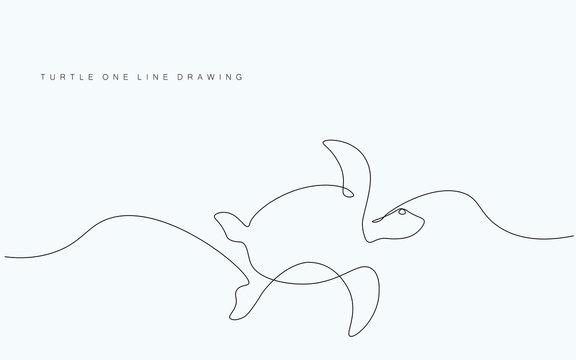 Turtle swim on sea, vector illustration