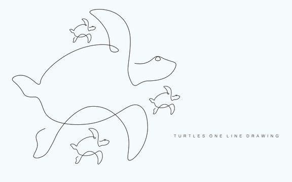 Turtles family swim on white background, vector illustration