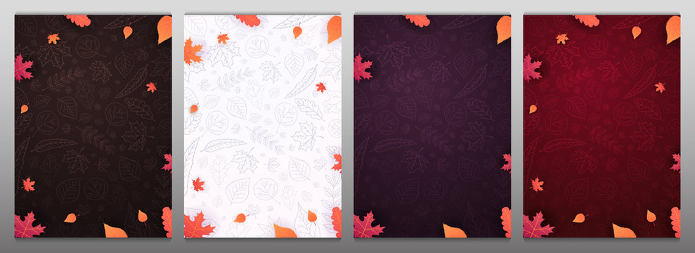 Set of Autumn backgrounds with leaves for shopping sale or promo poster and frame leaflet or web banner and social media.