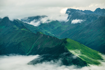 Spoed Foto op Canvas Groen blauw The clouds sea and sunrise in the mountains in West Sichuan, China.