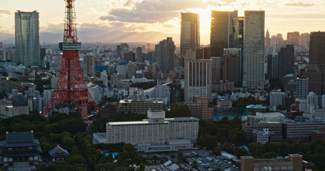 Wall Mural - Tokyo city at sunset time