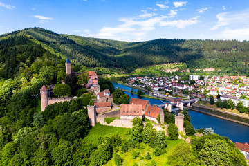 Aerial view, Castle Hirschhorn at river Neckar, Odenwald, Hesse, Germany, Fototapete