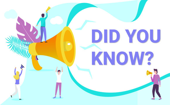 Small people shout on megaphone with Did you know word concept vector, with character hand shake, it can be used for landing page, template, ui, web, mobile app, poster, banner, flyer