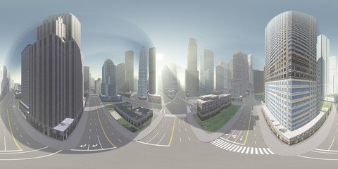 Wall Mural - Panorama of the city. Environment map. HDRI map. equidistant projection. Spherical panorama.