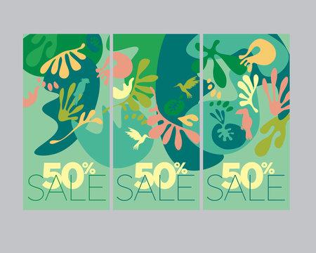 Summer green tropical nature banner set