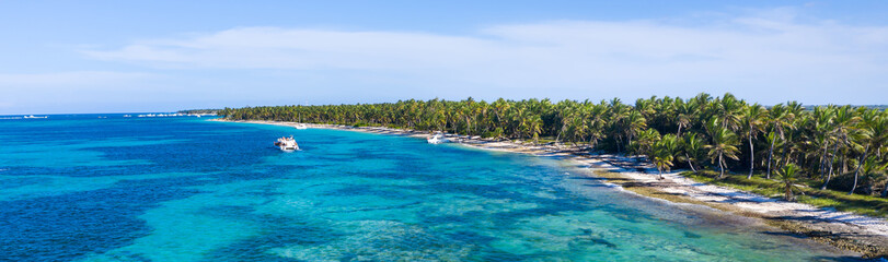Fototapete - Aerial view from drone on tropical coast with palm trees and speed boat floating in caribbean sea