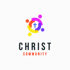 4 pictures of people as the symbol of community with cross in the middle. very suitable for Christian community logos
