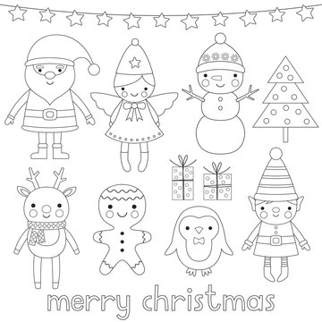 Christmas characters, coloring page (or digital stamps)