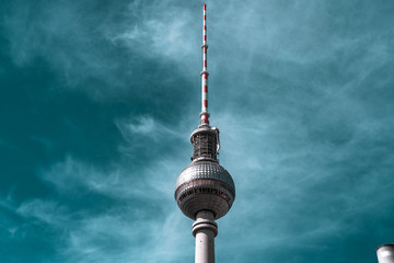 The TV tower of Berlin, the main monument in Alexanderplatz Wall mural