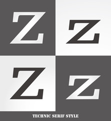 eps Vector image: Linear Serif style initials (Z)