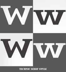 eps Vector image: Linear Serif style initials (W)