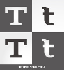 eps Vector image: Linear Serif style initials (T)