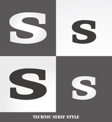 eps Vector image: Linear Serif style initials (S)