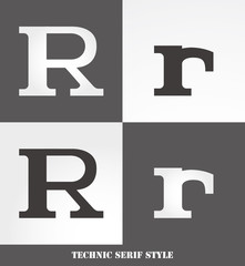eps Vector image: Linear Serif style initials (R)