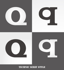 eps Vector image: Linear Serif style initials (Q)