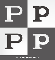 eps Vector image: Linear Serif style initials (P)