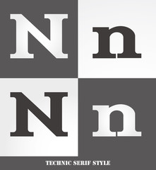 eps Vector image: Linear Serif style initials (N)