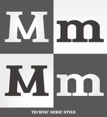 eps Vector image: Linear Serif style initials (M)