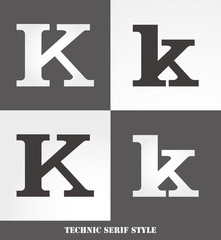 eps Vector image: Linear Serif style initials (K)