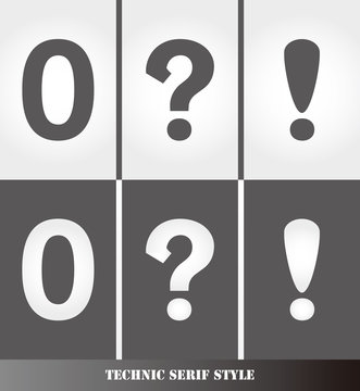 eps Vector image: Linear Serif style number.0 and question mark.Exclamation point