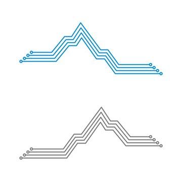 Mountain Electronic Circuit Logo Illustration Design. Vector EPS 10.
