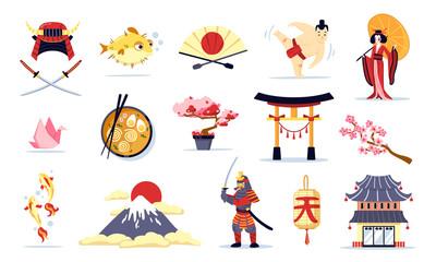 Japan Symbols Cartoon Set