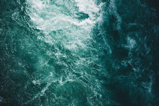 Overhead shot of beautiful textures of water in the ocean