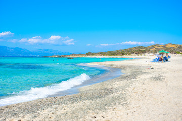 Fototapeta Exotic Chryssi island at the south of Crete, with the amazing Golden Beach, Greece
