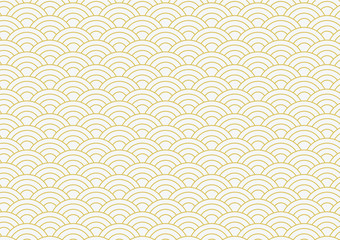 vector background of gold japanese wave pattern Wall mural