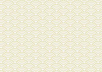 Obraz vector background of gold japanese wave pattern - fototapety do salonu