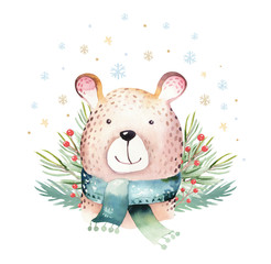 Wall Mural - Watercolor cute baby bear cartoon animal portrait design. Winter holiday card on white background. New year decoration, merry christmas elements
