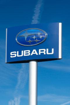 Subaru Automobile Dealership and Sign