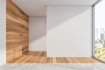 Empty white and wood room interior