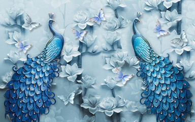 3d mural background blue peacock wallpaper with butterfly