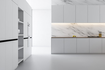 White marble kitchen interior with table
