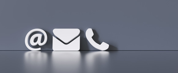 Contact Methods. Close-up Of A Phone, Email and Post Icons Leaning On gra Wall Fotomurales