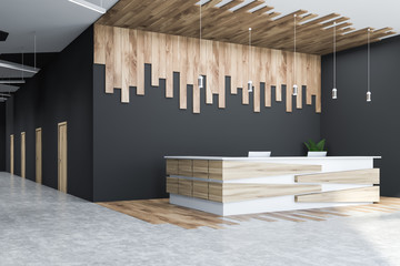 Gray and wooden office hall corner, reception desk Wall mural