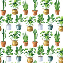 Watercolor seamless pattern with home plants in clay pots and straw basket.