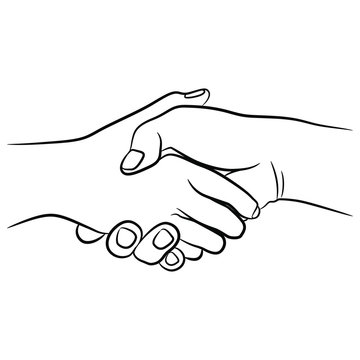 Two human hands clasped in handshake. Black and white linear silhouette.