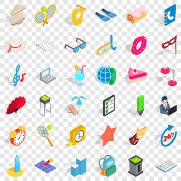 Mask icons set. Isometric style of 36 mask vector icons for web for any design