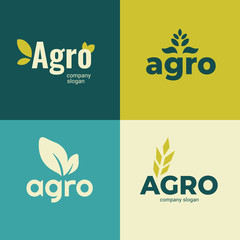 Set of signs for Agriculture company,farming icons with slogan. Vector illustrations with Agro and leaves. Identity for Agricultural business. Design elements for banners,branding, advert,emblem,label