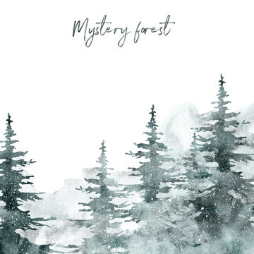 Watercolor snow winter forest landscape background with space for text. pine and spruce trees on white backdrop for Christmas design.