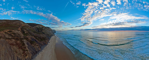 Panoramic aerial from praia vale figueiras in Portugal at sunset