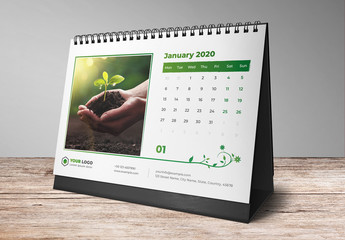 Desk Calendar Layout Set with Green Leaf Elements