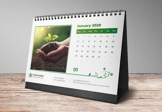 Desk Calendar Layout Set with Green Leaf Elements