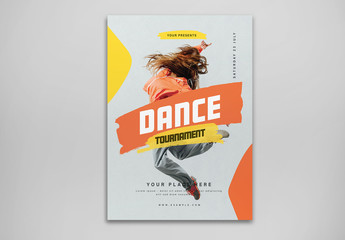 Dance Tournament Flyer Layout with Orange and Yellow Accents